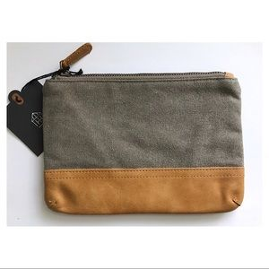 HEARTH & HAND Magnolia Canvas Leather Cosmetic Bag